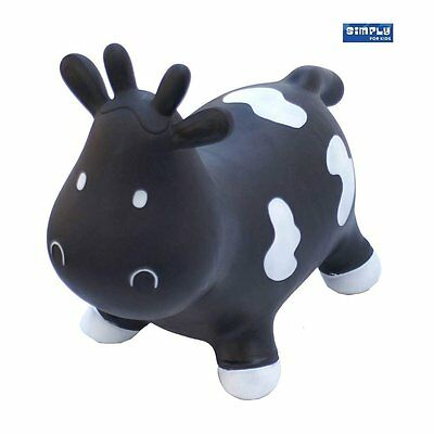 Skippy the Black Bouncy Cow Space Hopper, Black with White Spots, Free Pump