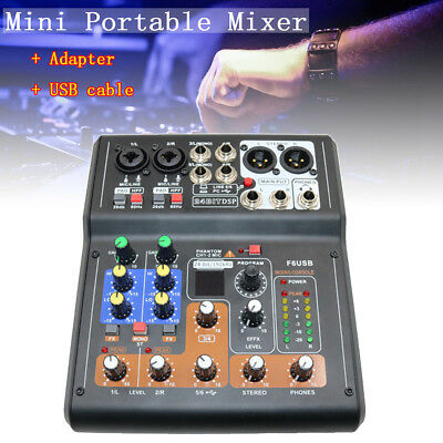 Pro 6 Channel Mixer Live Studio Audio Digtal Sound USB Power Mixing DJ Console