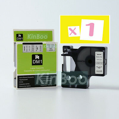 1 Pack Tape Label Compatible for DYMO D1 43610 Black on Clear 6mm 7m