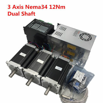 3 Axis Nema34 12Nm Dual Shaft CNC Stepper Motor Drive Kit+Power Supply+CNC Board