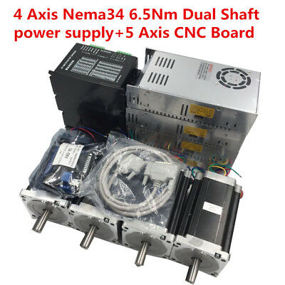 4 Axis 6.5Nm Nema34 Dual Shaft Stepper Motor Drive Kit + Power Supply+CNC Board