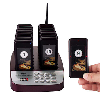 Restaurant Wireless Paging Queuing System 999CH+16xCall Coaster Pager 600g US