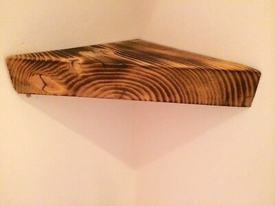 2x Chunky Wooden Rustic Solid Floating Vintage HANDMADE CORNER SHELF .