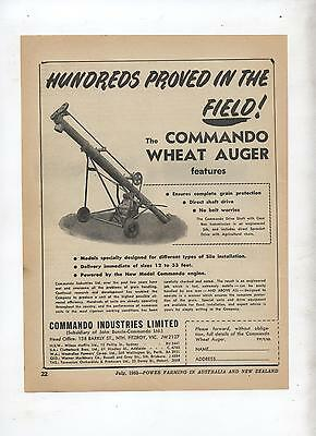 Commando Wheat Auger Advertisement removed from 1952 Farming Magazine