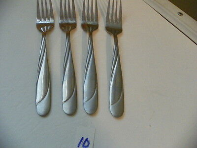 Set Of 4  Hampton  Swirl Glossy / Satin Finish  Salad Forks Stainless Flatware