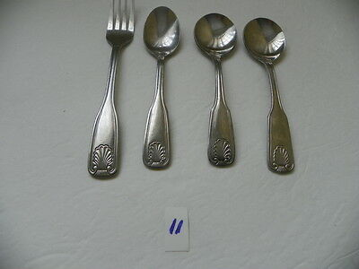 4 Pieces   Brand Ware Coral Pattern 1 Dinner Fork,2 Gumbo Spoons 1 Teaspoon