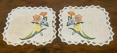 2 x Vintage Linen Hand Embroidered Doilies - Matching Pair - Bright Flowers