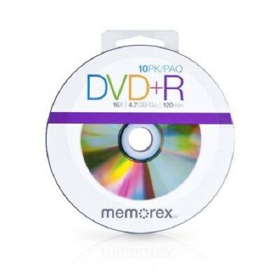 Memorex DVD+R 10 Pack 4.7GB 16x Speed Recordable Media Blank DVD Discs