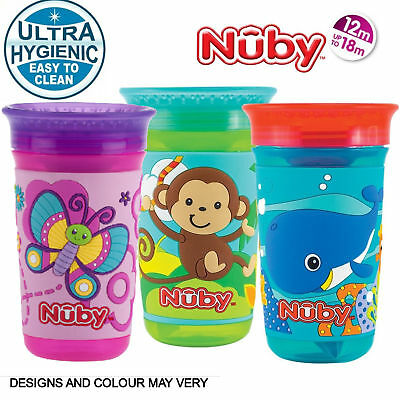 Nuby 360 Decorated 3D Maxi Toddler Spill Proof Seal with Watertight Coverlid Cup