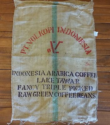 LARGE HESSIAN COFFEE SACK JUTE BAG INDONESIA ARIBICA RECYCLED 110x75cm
