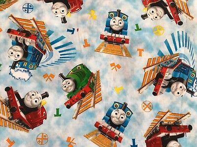 Sky Blue FQ Fat Quarter Fabric Thomas The Tank Engine Train 100% Cotton Quilting