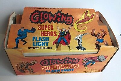 Vintage 1978 MARVEL SUPER HEROS BATTERY OP FLASH LIGHTS IN ORIGINAL DISPLAY BOX