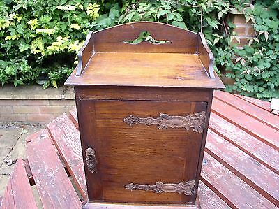 Early 20th Century Wooden Smokers Cabinet W/ Pipe Rack and Shelf