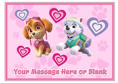 Paw Patrol Skye and Everest edible birthday personalised A4 cake topper icing