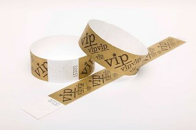 """Gold VIP 1"""" Tyvek Paper Wristbands for security, events, festivals and parties"""