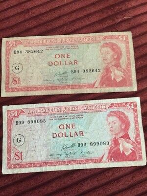 East Caribbean Currency - One Dollar (x2) - Vintage