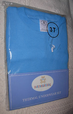 New 2 Pc Blue Size 3T Girls Thermal Underwear Shirt Pants Set Long Johns Sealed