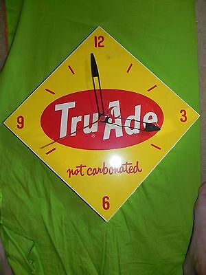 "Tru-Ade TruAde Orange Drink Soda Electric Clock Not Carbonated 14"" X14"" Cola"