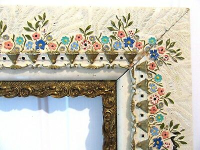 Big Antique Victorian Painted Gilt Picture Frame Fit 16X20 Ornate Country Floral