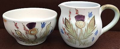 Buchan Finest Stoneware Scotland Pottery Thistle Design Sugar Bowl & Milk Jug