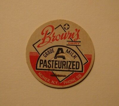 BROWN'S DAIRY HOMER,NY.NEW YORK. 1 5/8s.MILK BOTTLE CAP