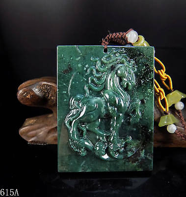 100% Natural Hand-carved Chinese Jade Pendant jadeite Necklace horse 615a