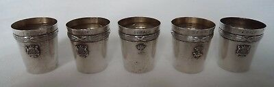 Set Five French St Malo Brittany Solid Silver Shot Cups / Beakers