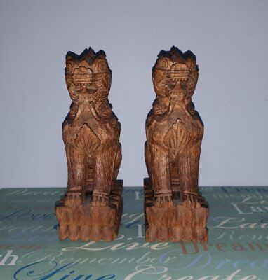 Chinthe Wood Carvings: Pair: Badge Of Chindit: 1943: Made In Burma