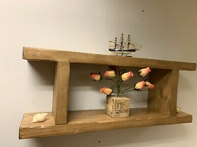 Distressed Plank Shelf Display Unit Rustic handmade  Wood  wall Cube Two Tier