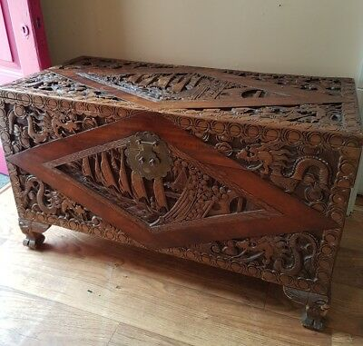 Asian Oriental antique carved camphorwood chest trunk