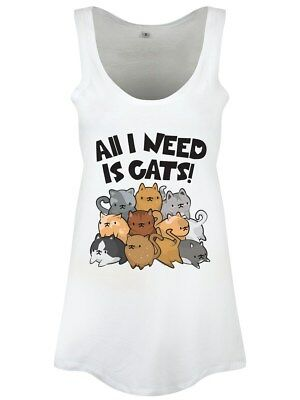 All I Need Is Cats Floaty Women's White Vest