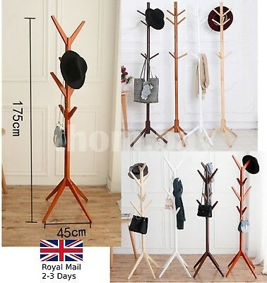 Wooden Coat Rack Clothes Stand Hanger Hat Jacket Bag Umbrella 8/9 Hooks