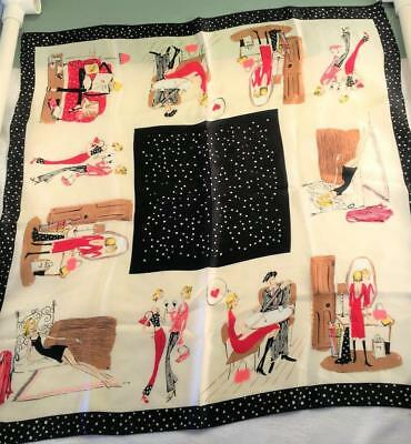 Vintage 1940S Caricature Silk Scarf Red Black White Romance Polka Dots Rolled