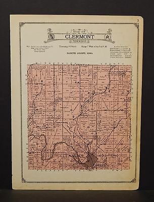 Iowa Fayette County Map Clermont Township 1927  W14#30