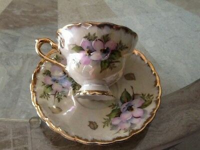 Bone China Tea Cup and Saucer Pink Dogwood on cream colored with gold trim