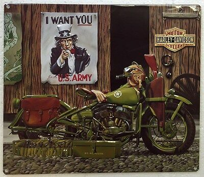 Ande Rooney HARLEY DAVIDSON FREEDOM RIDERS Motorcycle US Army Garage Sign New