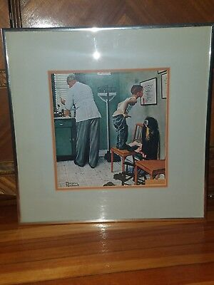 Norman Rockwell art print framed Before the shot Doctor' office