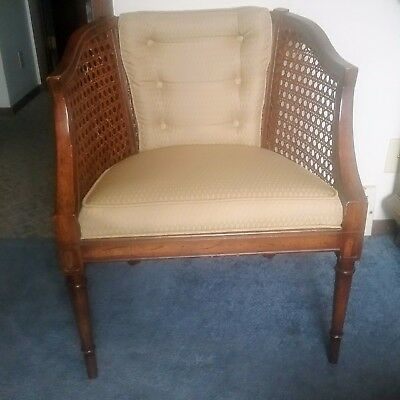 vintage hollywood mid century modern barrel back cane chair
