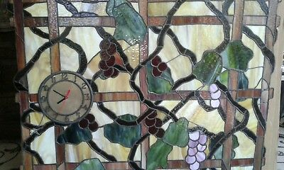 """Big stained Glass Window Tiffany style Hanging Panel/Clock 35"""" x 28"""".."""