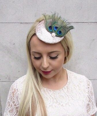 Champagne Blush Pink Peacock Feather Pillbox Hat Fascinator Hair Clip Races 3941