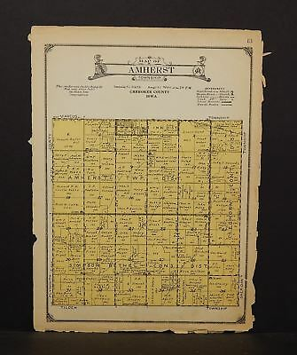 Iowa Chewkee County Map Amherst Township 1923  W14#43