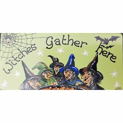 Halloween Themed  Magnet Witches Gather Here Fridge Magnet