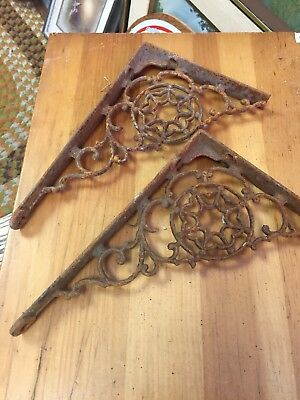 Pair Cast Iron Antique Shelf Brackets rusty RUSTIC Vintage