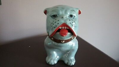 Vintage Bulldog Lusterware Covered Dish Dog Tongue Spoon Possibly Made in Japan