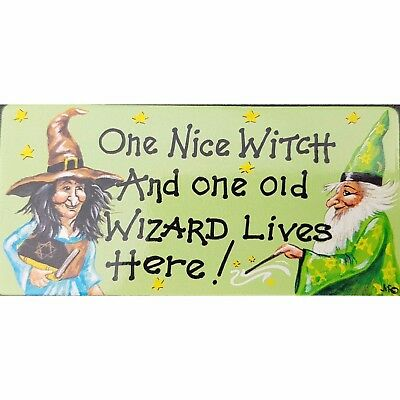 Halloween Themed Fridge Magnet One Nice Witch & One Old Wizard Lives Here
