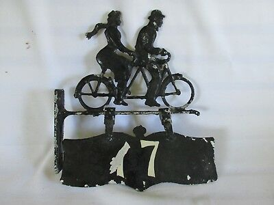 Unique Vintage Metal House Number Sign  with Bicycle Riders