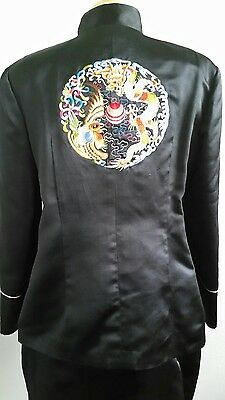 Women's Chinese Suit Traditional Embroidered Black Satin Jacket/Skirt Sz L or XL