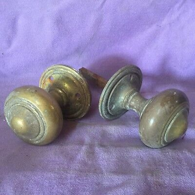 Vintage Pair Heavy Brass Door Handle.  Quality Large Knob.