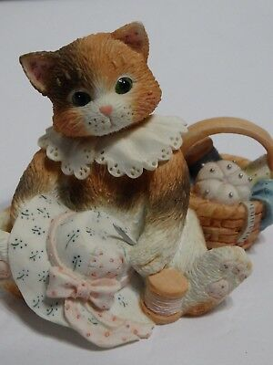Vintage 1994 Enesco Resin Cat Figurine Hats Off To A Perfect Friendship