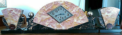 French marble art deco mantle clock with garnitures